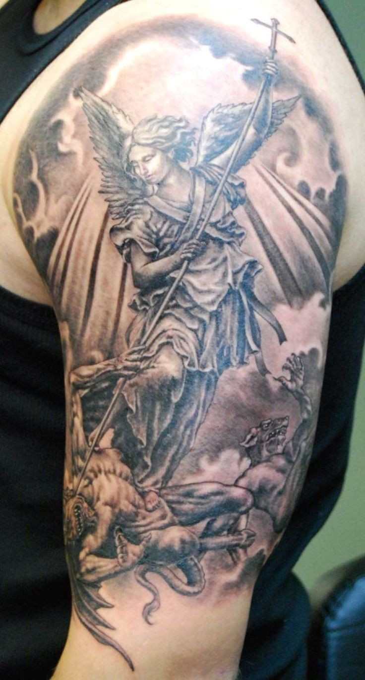 Awesome angel tattoos images part 2 for Angel half sleeve tattoo